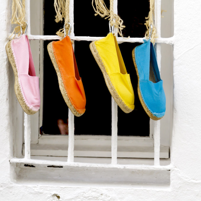 """Four shoes hanging"" stock image"