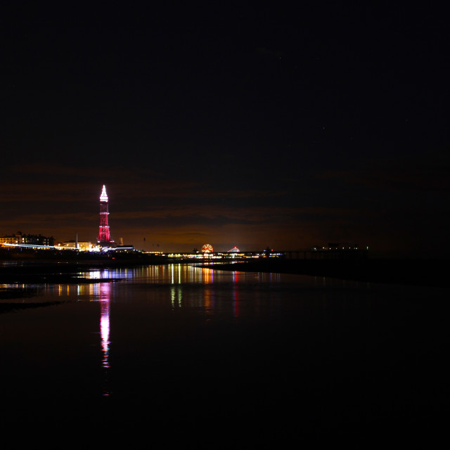 """Blackpool at night"" stock image"
