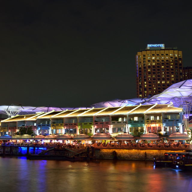 """Night at Clarke Quay"" stock image"