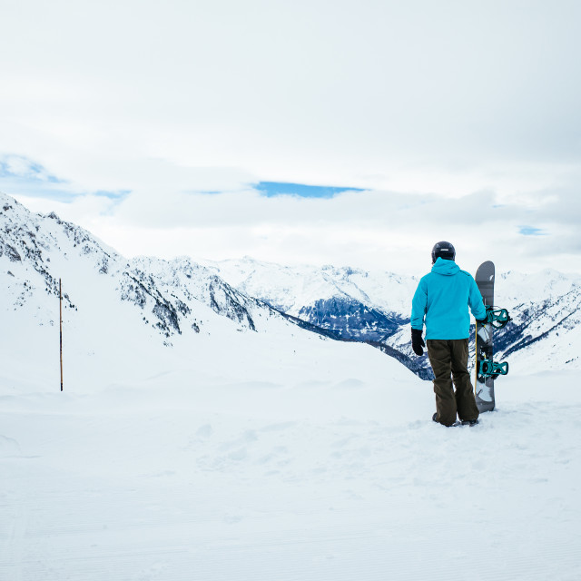 """Lone snowboarder"" stock image"