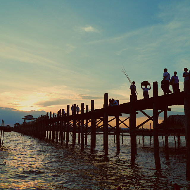 """sunset on U Bein bridge"" stock image"