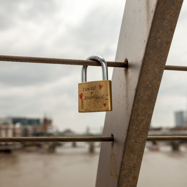 """Padlock of love"" stock image"