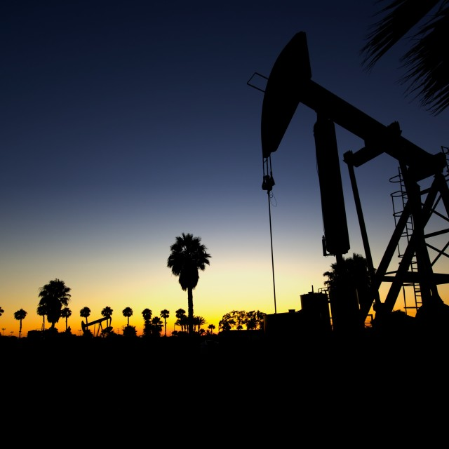 """Drilling for Oil in California"" stock image"