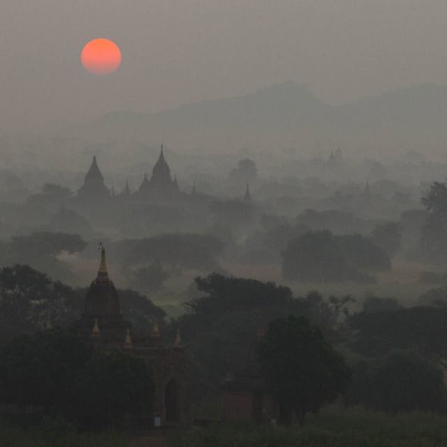 """Sunrise over the temples of Bagan, Burma"" stock image"
