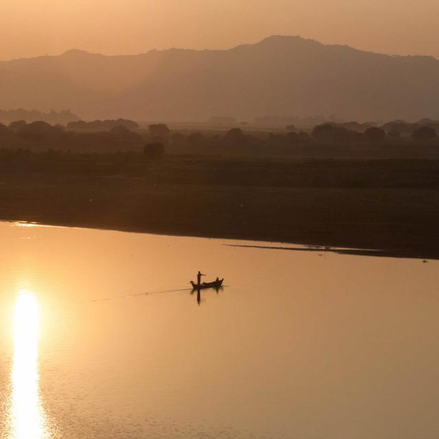 """Sunset over the Irrawaddy, Burma"" stock image"