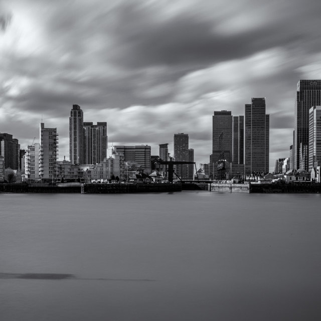 """""""A view across the River Thames to Canary Wharf"""" stock image"""