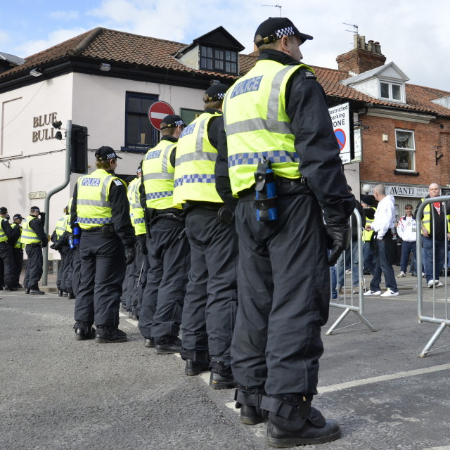 """English Defence League demonstration Grantham"" stock image"