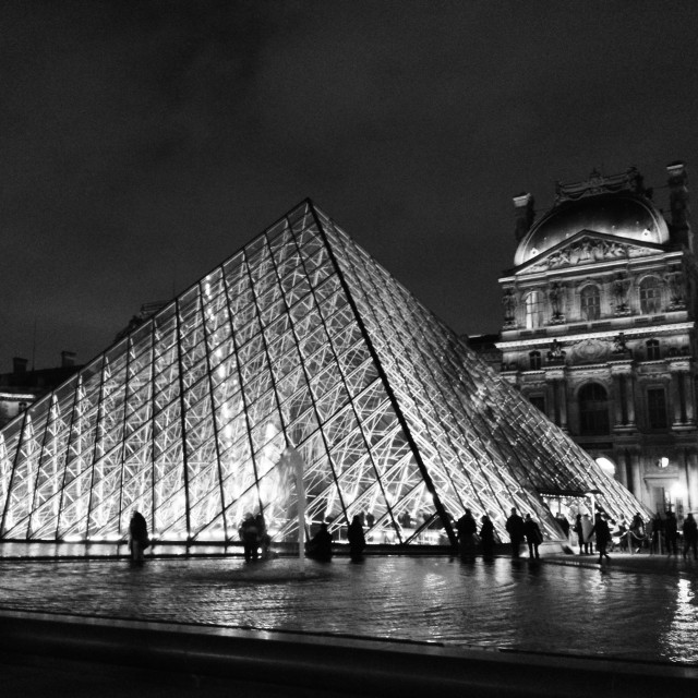 """The Louvre By Night"" stock image"