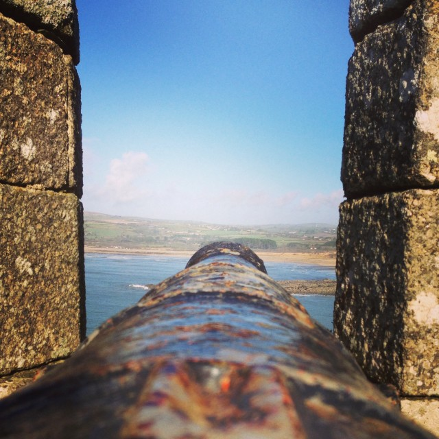 """St Michaels Mount - Cornwall. Cannon."" stock image"