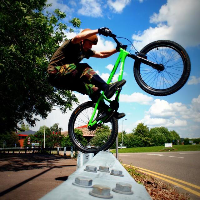 """Trials Riding Wheelie"" stock image"