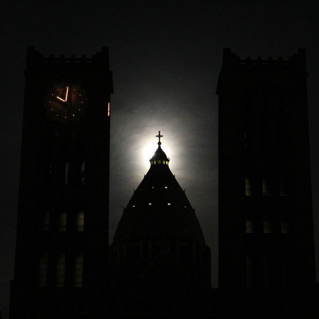 """St. Bavo Cathedral in moonlight"" stock image"