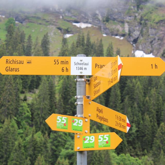 """Swiss Walking Sign"" stock image"