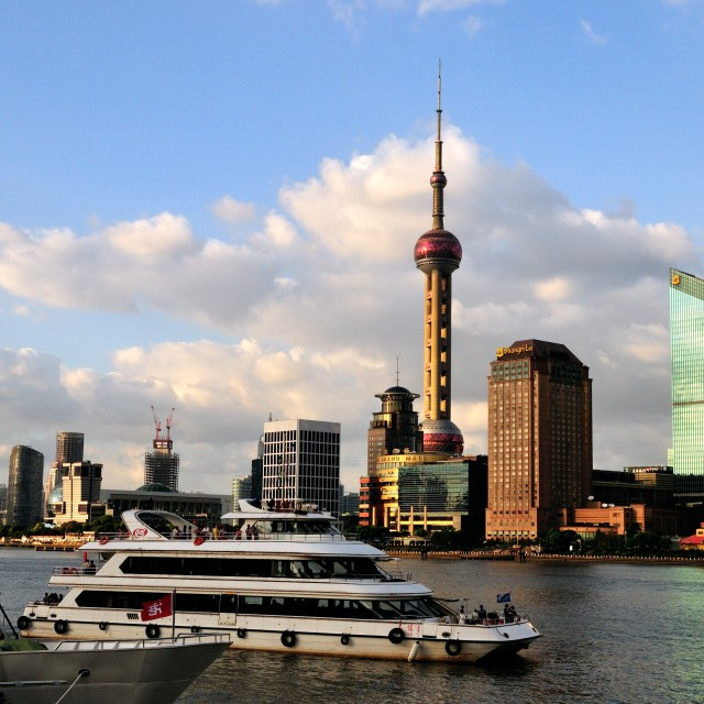 """Sunset on the Bund"" stock image"