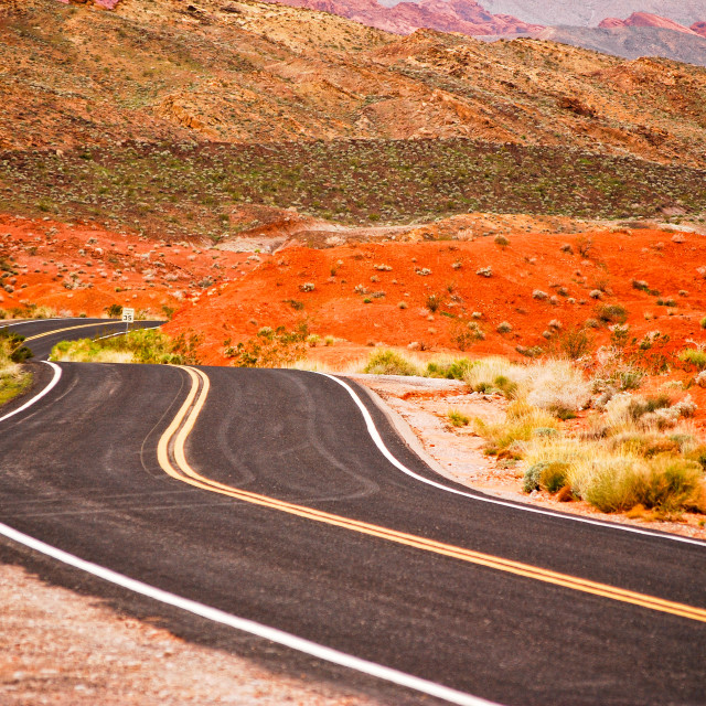 """""""Winding Road In Valley Of Fire"""" stock image"""