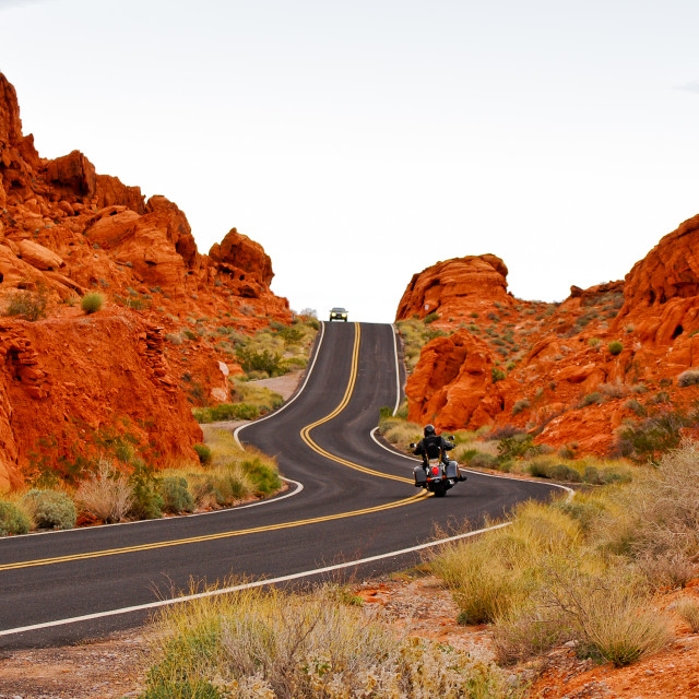 """Driving in Valley Of Fire"" stock image"