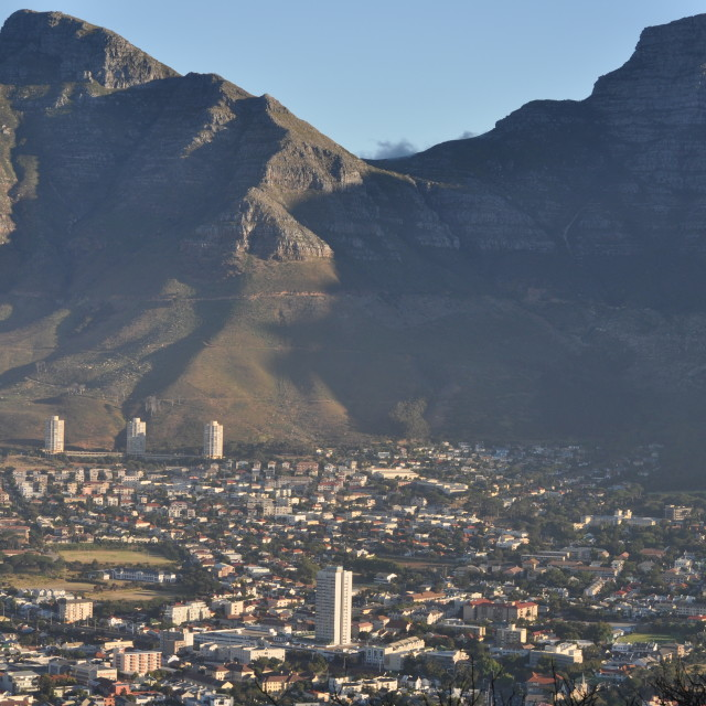 """Table Mountain over Cape Town"" stock image"