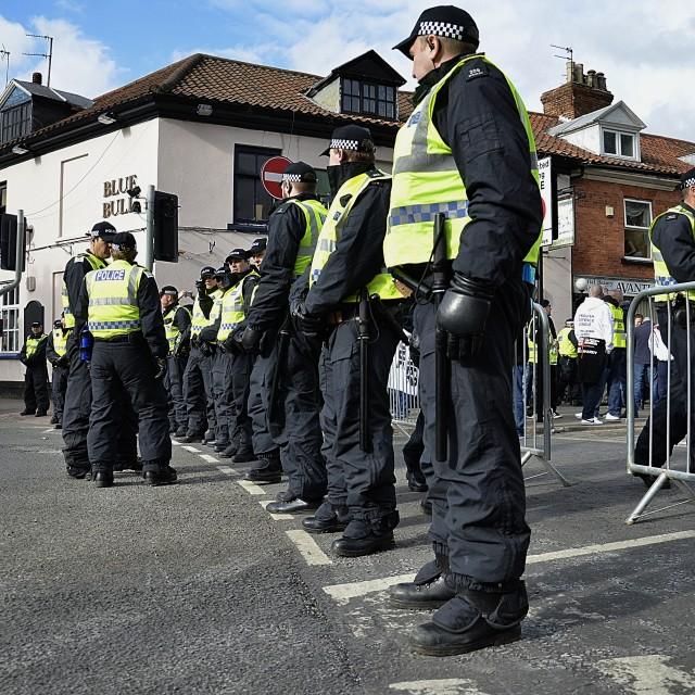 """""English Defence League demonstration Grantham"" stock image"