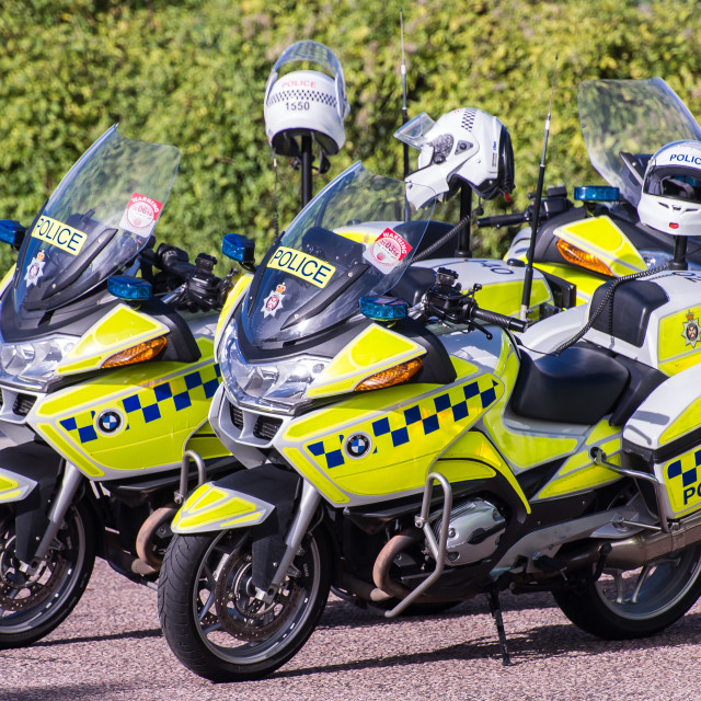 """Police Motorcycles"" stock image"