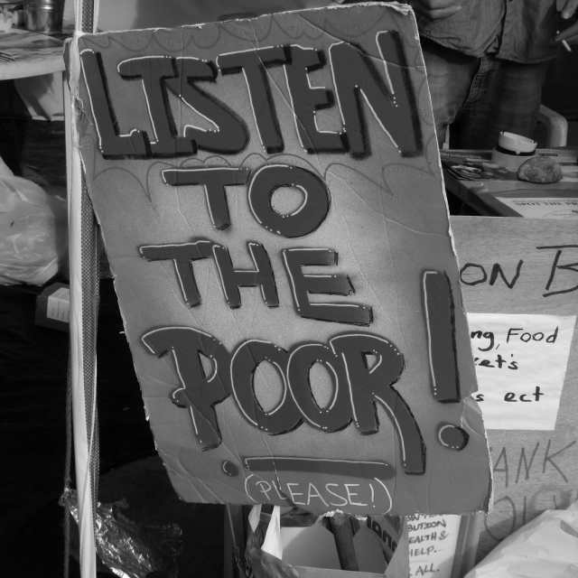 """""""Listen to the poor !"""" stock image"""