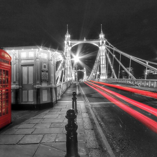 """Red phone box and light trails"" stock image"
