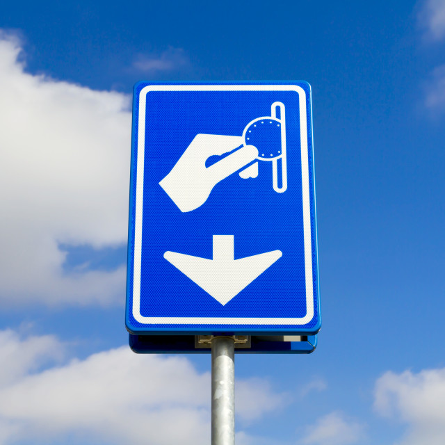 """""""Blue parking payment sign"""" stock image"""