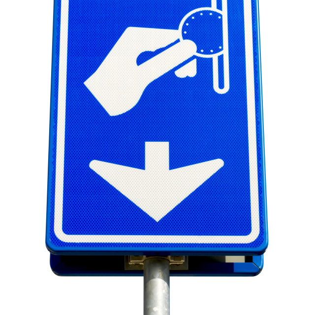 """""""Isolated blue parking payment sign"""" stock image"""