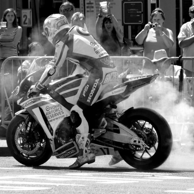 """Simon Andrews, Wheel Burn"" stock image"