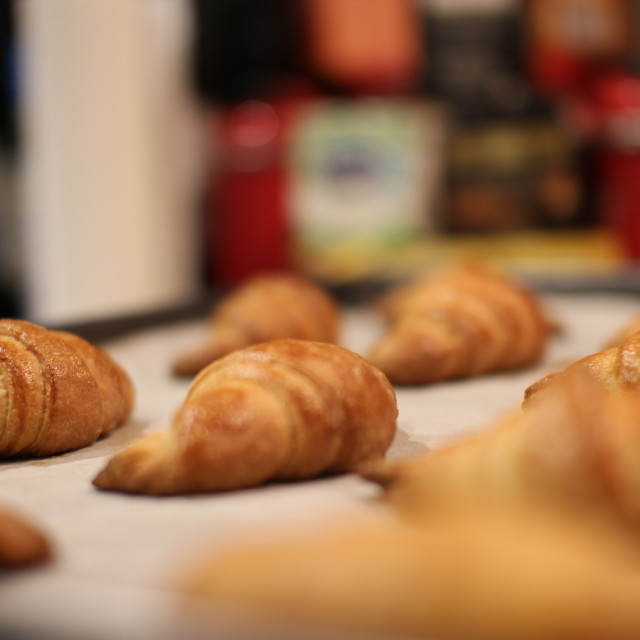 """Tray of Golden Croissants"" stock image"