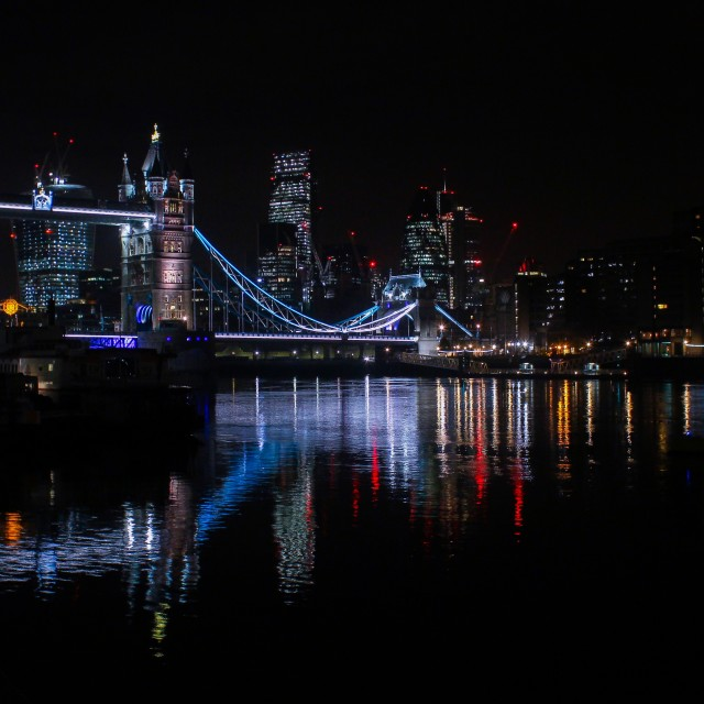 """A Still Night At Tower Bridge, London"" stock image"