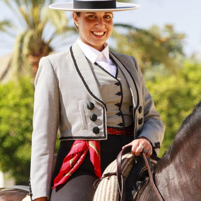 """Female Rider Smilng"" stock image"