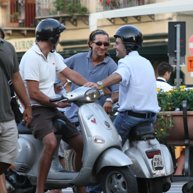 """Italian Men on Scooters"" stock image"