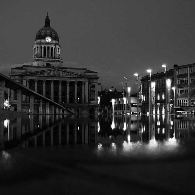"""""""nottingham council house at night"""" stock image"""