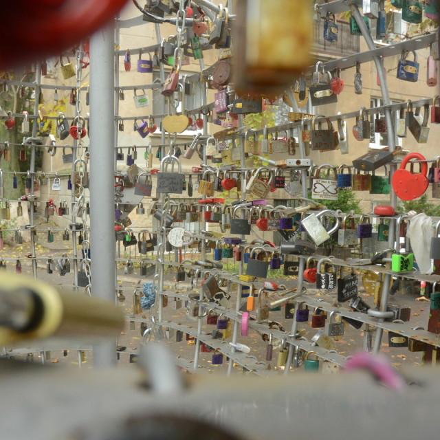 """Lovers' Padlocks in Odessa, Ukraine"" stock image"