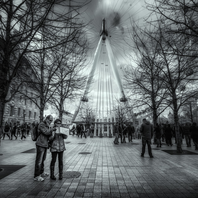 """""""Which Way To The London Eye?"""" stock image"""