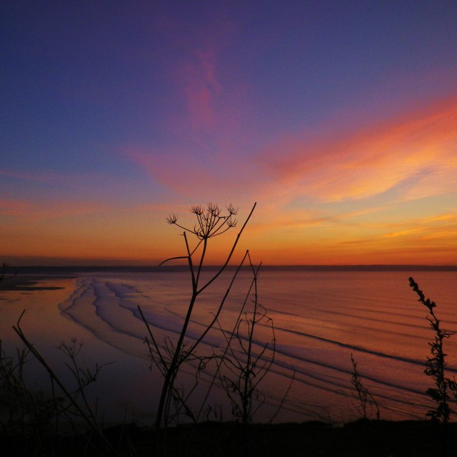 """Sunset over Saunton Sands"" stock image"