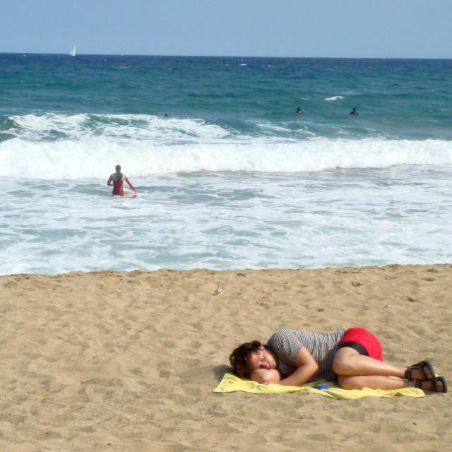 """beach sleeping"" stock image"
