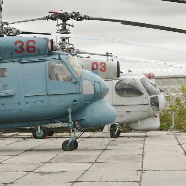 """Soviet era helicopters"" stock image"