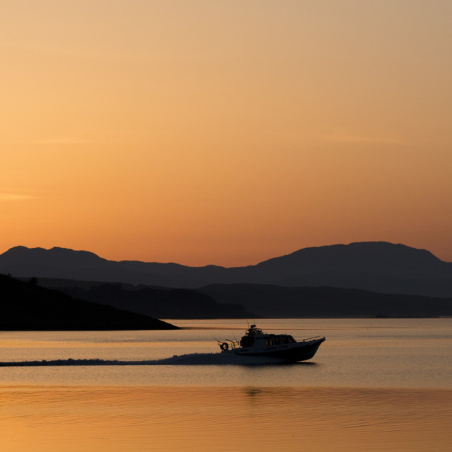 """""""Sunset Boat Silhouette"""" stock image"""