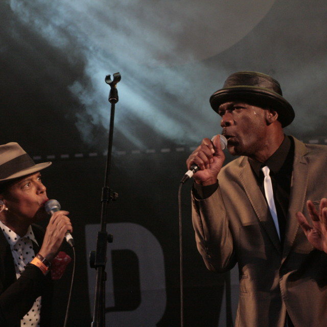 """Pauline Black and Gaps Hendrickson of The Selecter"" stock image"