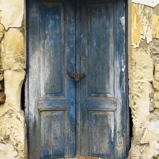 """""""Old ruin blue doors"""" stock image"""