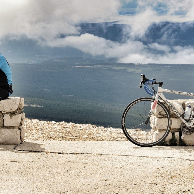 """Mont Ventoux and cyclist"" stock image"