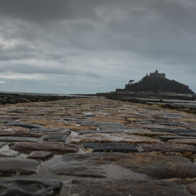 """St Michael's Mount, Stormy"" stock image"