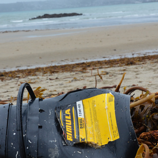 """Diesel Oil Can On Beach"" stock image"