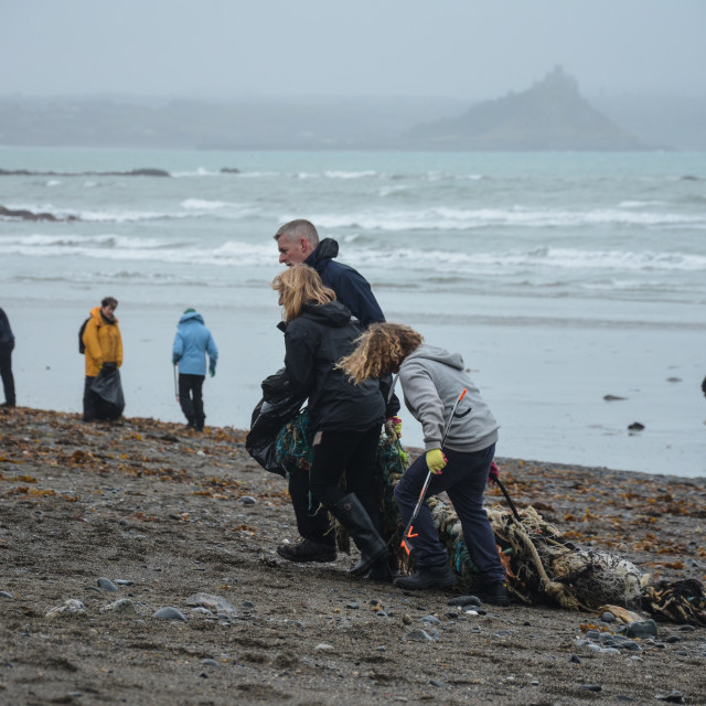 """Beach Clean Up Penzance, Cornwall"" stock image"