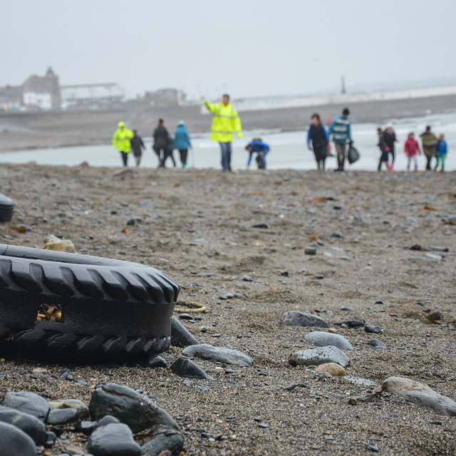 """Beach Clean Up Penzance, Cornwall - Tyres"" stock image"