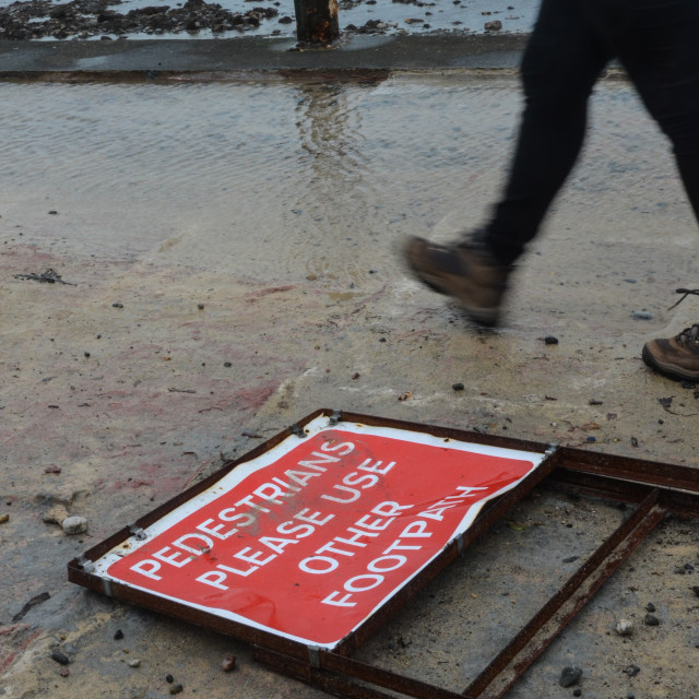 """Foot path closed, Penzance, Cornwall"" stock image"