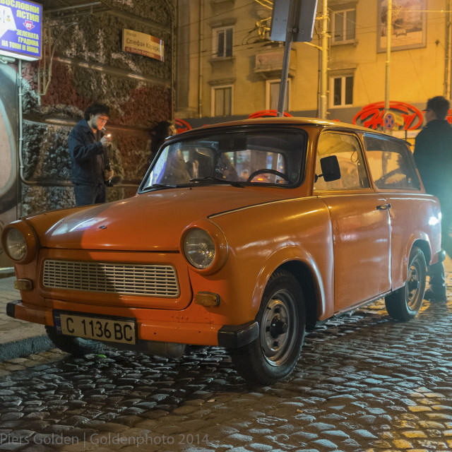 """Orange Trabant in Sofia"" stock image"