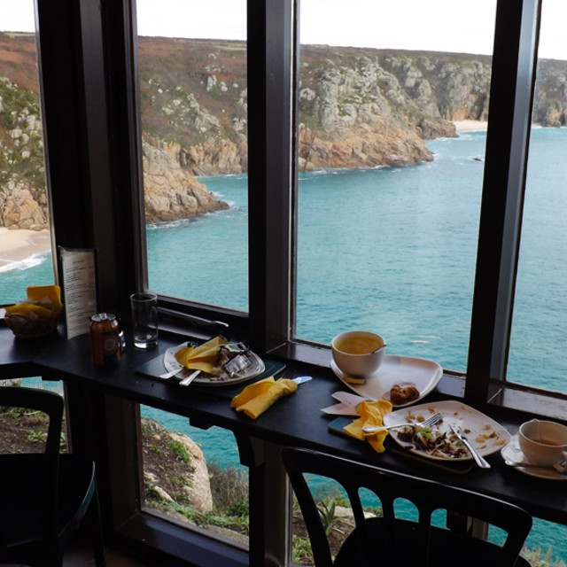 """Minack Theatre cafe, Cornwall"" stock image"