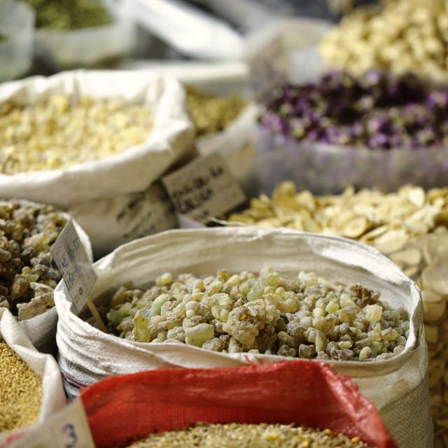"""Incense sacks in Qatari souk"" stock image"