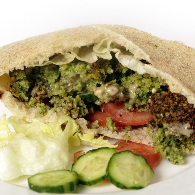 """Falafal pitta bread salad sandwich"" stock image"